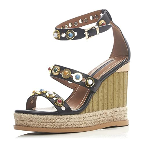 e6a1ba8c10c0b VASHOP Women s Rivets Rockstud Wedge Chunky Open Toe Heeled Sandals