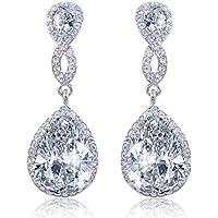 EVER FAITH Zircon Austrian Crystal Wedding 8-Shape Dangle Earrings Clear Silver-Tone