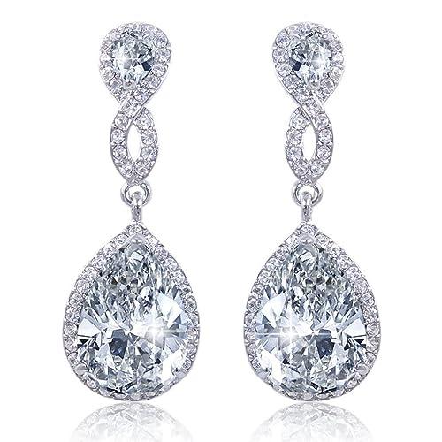 EVER FAITH Boucle d'Oreilles Forme Goutte Cristal Zircone Transparent Ton d'Argent