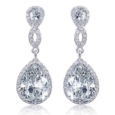 EVER FAITH® Women's Bling CZ Austrian Crystal Bridal Teardorp Pireced Dangle Earrings Silver-Tone FaA1WdlbYd