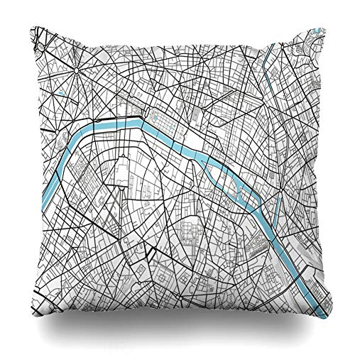 Ahawoso Throw Pillow Cover Vintage Black White City Map Paris Artistic Abstract Arc Triomphe Cartography Drawing Design Line Decorative Pillow Case 16x16 Inches Square Home Decor Pillowcase