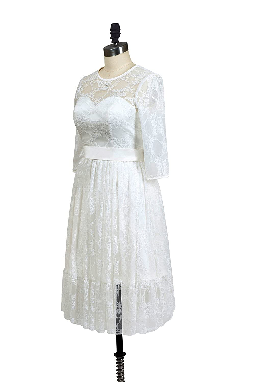 eed7e9c5b26 Dressilymall Women s Ivory Lace Prom Dress Wedding Short Evening Gown with  Sash at Amazon Women s Clothing store