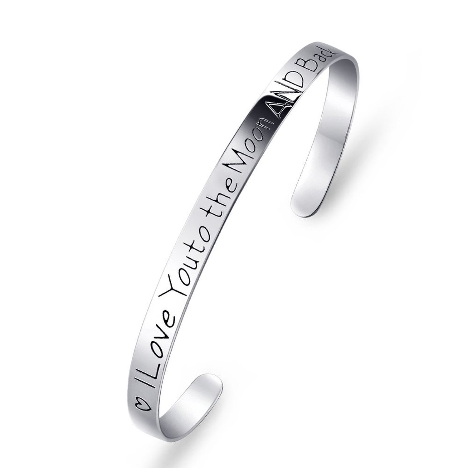 Women Bracelet 925 Sterling Silver ''I Love You To The Moon and Back'' Cuff Bracelet, 7''