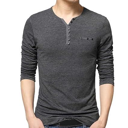 a26634cf5d402 LuckyGirls Camisetas para Hombre Botones Cuello en V Camisa de Manga Larga  Casual Poleras Polo Moda