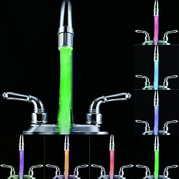 vneirw 7/colores Cambio LED luz adaptador de filtro para grifo de cocina cuarto de ba/ño agua alcachofa de ducha Boquilla de grifo plateado