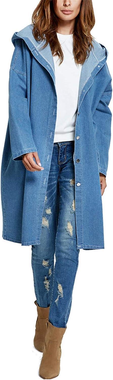 Daniel Galsworthy Womens Fashion Spring Autumn Denim Jacket Long Hooded Loose Full Sleeve Jacket