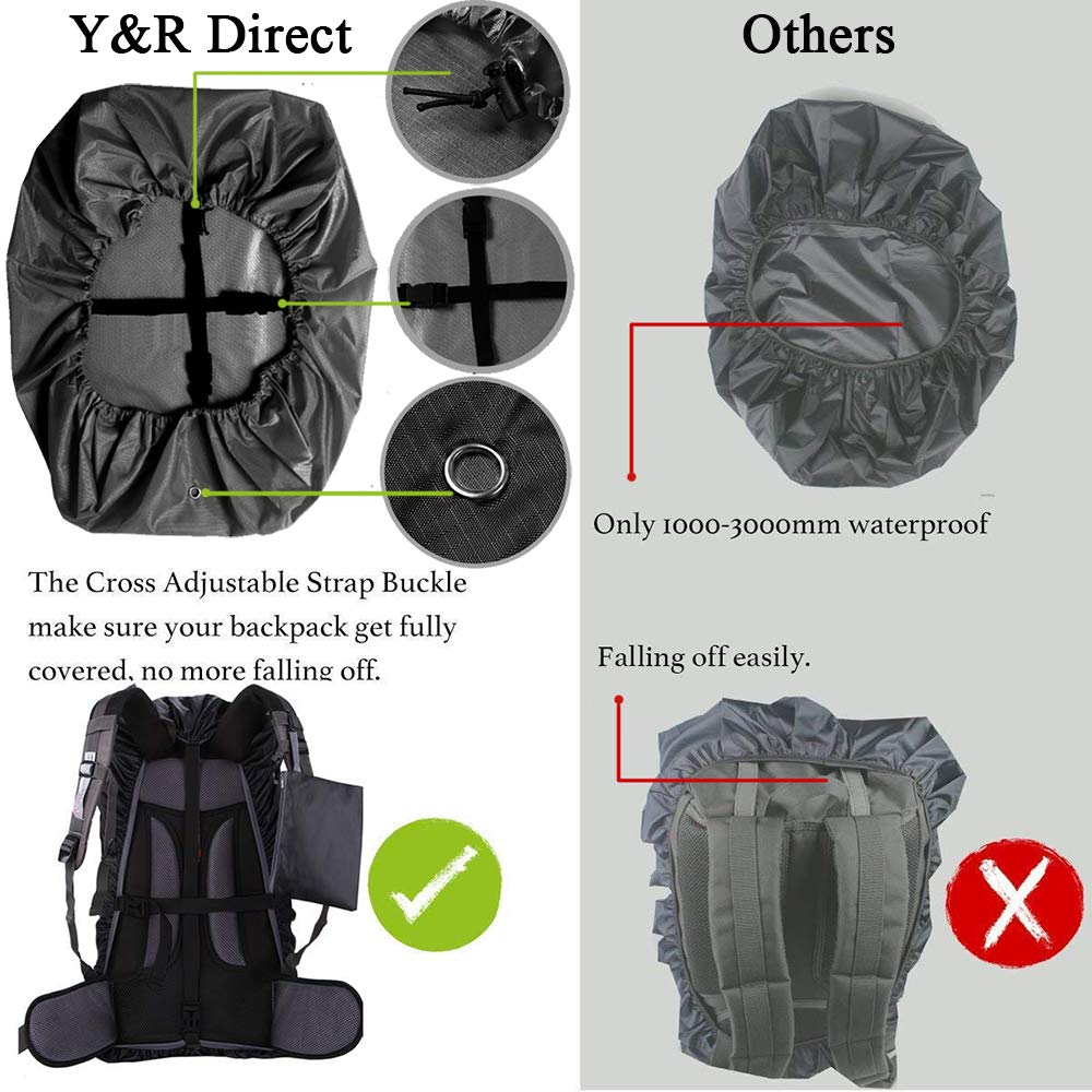 Y&R Direct Backpack Rain Cover 100% Waterproof Backpack Cover, Upgraded Anti-Slip Cross Buckle Strap & Rainproof Storage Pouch & Silver Coated, for Hiking Camping Traveling Outdoor (15-90L)