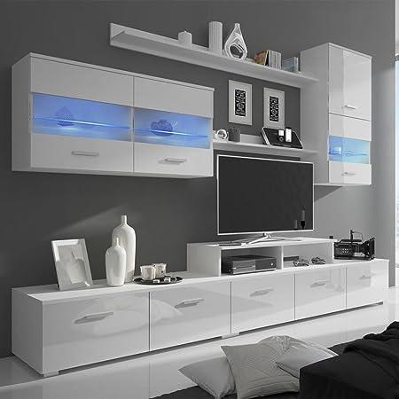 Vidaxl Meuble Tv Avec Led 250 Cm Blanc Haute Brillance 7 Pieces Amazon Co Uk Kitchen Home