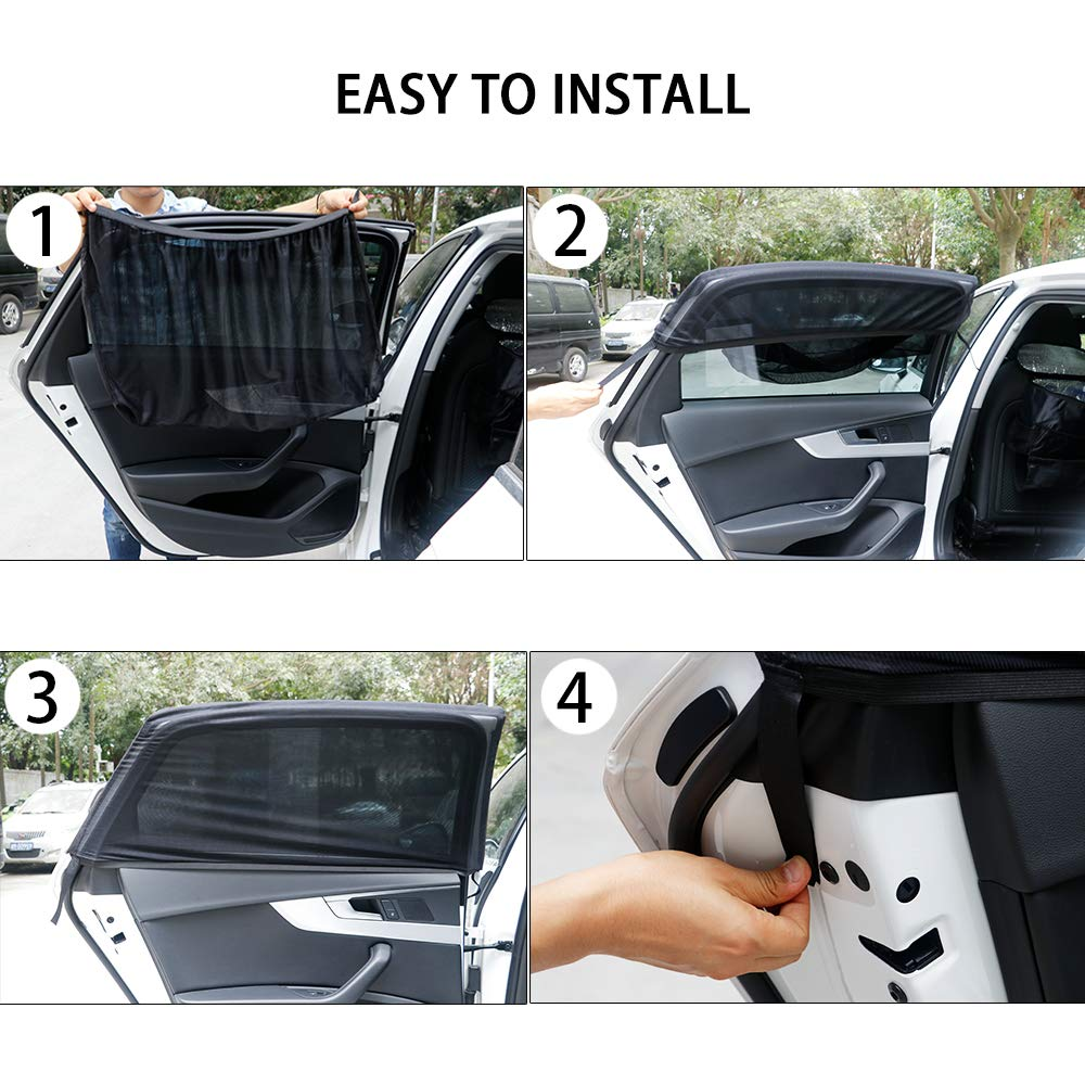 Tamiar Car Sun Shade Car Window Shades for Baby 2 Pack Breathable Rear Window Sun Shade Protects Your Baby and Kids from The Sun and UV Fits Most Small and Medium Cars