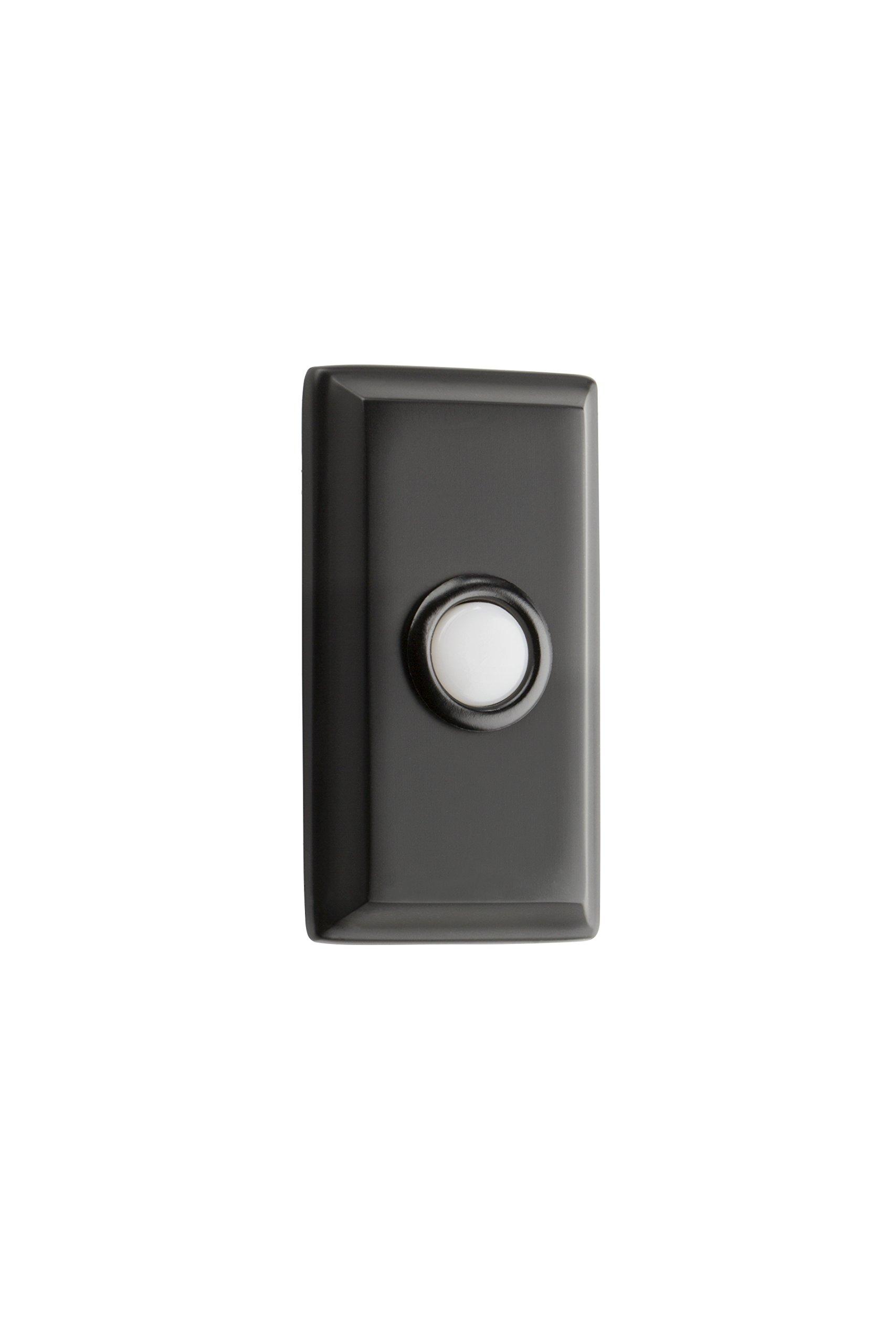 Baldwin 9BR7015-010 Reserve Contemporary Rectangular Door Bell Button, Satin Black