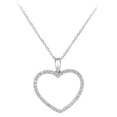 Naava Women's 9ct White Gold Diamond Heart Pendant Necklace of Length 40cm cAcRayW3Mc