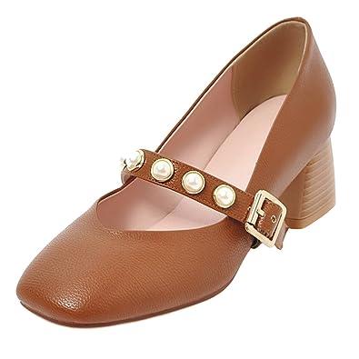 AIYOUMEI Damen Mary Janes Blockabsatz Riemchen Pumps mit Perlen Schuhe 5cm  Absatz Braun 33.5 EU 8a886d7b04