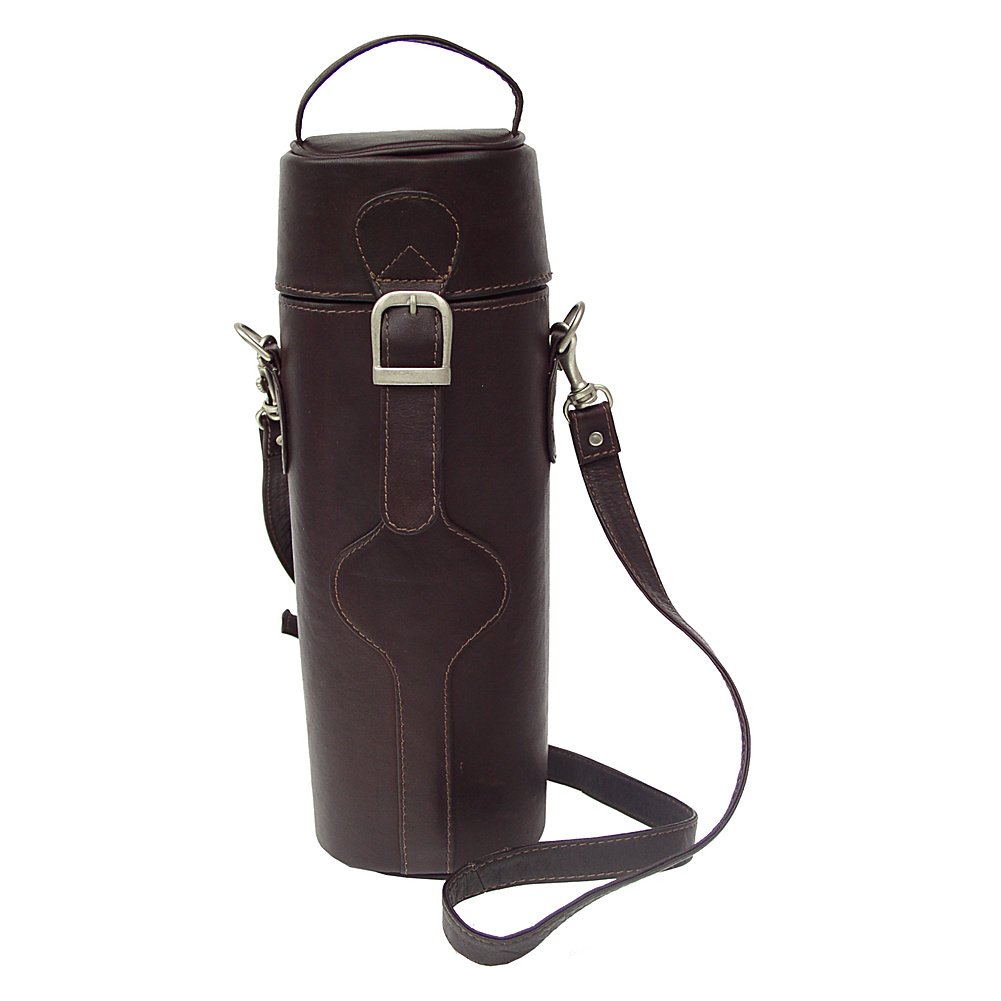 Piel Leather Single Deluxe Wine Carrier, Chocolate, One Size