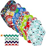 LEADSTAR Reusable Sanitary Towel,7 PCS Washable Soft Cloth Panty Liners,Bamboo Charcoal Cloth Menstrual Pads with 1 Cute…