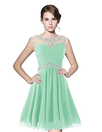 Belle House Sheer Neck Homecoming Dresses Short 2017 For Juniors Mint Chiffon A Line Prom Dress