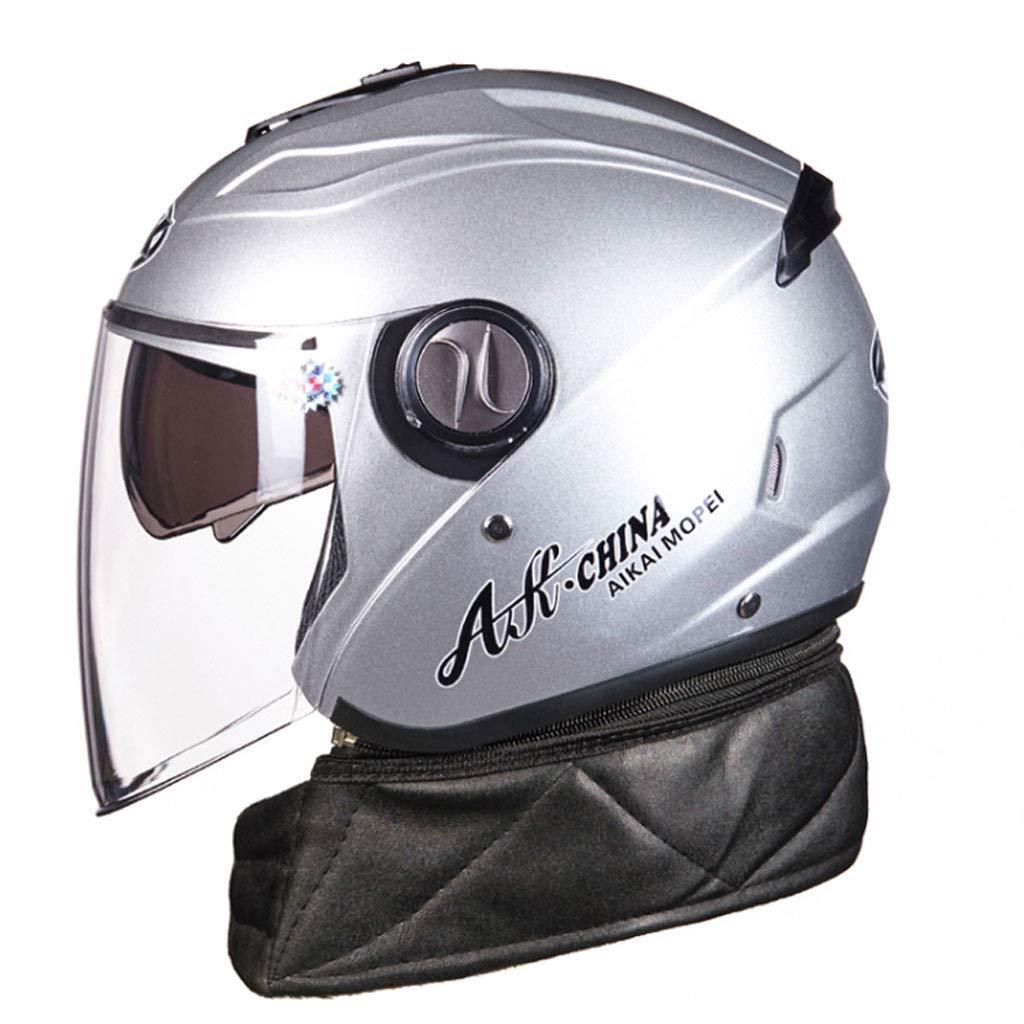 argent 31x25x26cm YangMi Casque- Casque de Moto pour Voiture électrique pour Hommes et Femmes Quatre Saisons (Couleur   argent, Taille   31x25x26cm)