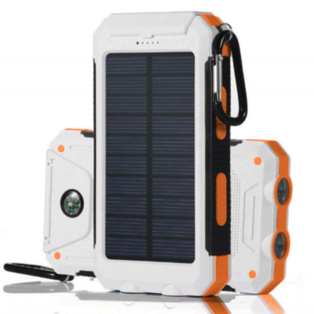 White+Orange Waterproof 500000mAh Dual USB Portable Solar Charger Solar Power Bank For Phone