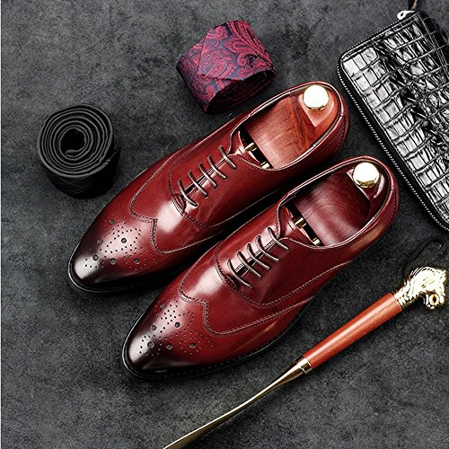 Men Carved Bullock Uomo da Shoe Affari YIWANGO Spring Red Pointy Shoes Scarpe vYwpq64