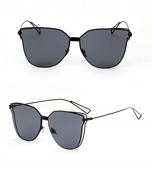 damen-sonnenbrille-art- und weisekatze-objektiv-sonnenbrille-farben-rahmen-großes feld-doppelrahmen-sonnenbrille unregelmäßige Gläser Silber Weiss 6CgRz9P