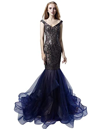 0514a356b06 Belle House Long Prom Dress Women Off The Shoulder Evening Dresses Formal  Ball Gown Navy Blue
