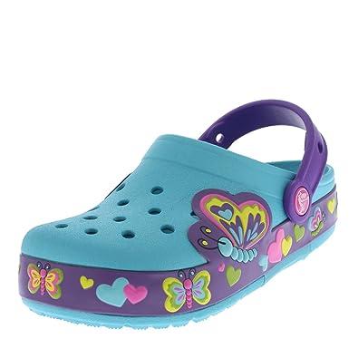 e417061f7 Crocs Kids Girls CrocsLights Butterfly Summer Sandals Lightweight Clogs -  Aqua Neon Purple - J2