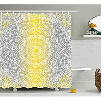 Grey And Yellow Shower Curtain By Ambesonne, Mandala Ombre Tribal Boho  Pattern With Spiral Round
