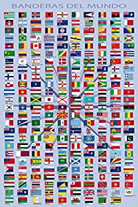 1art1® Banderas del Mundo - Nombres De Paises Y Capitales