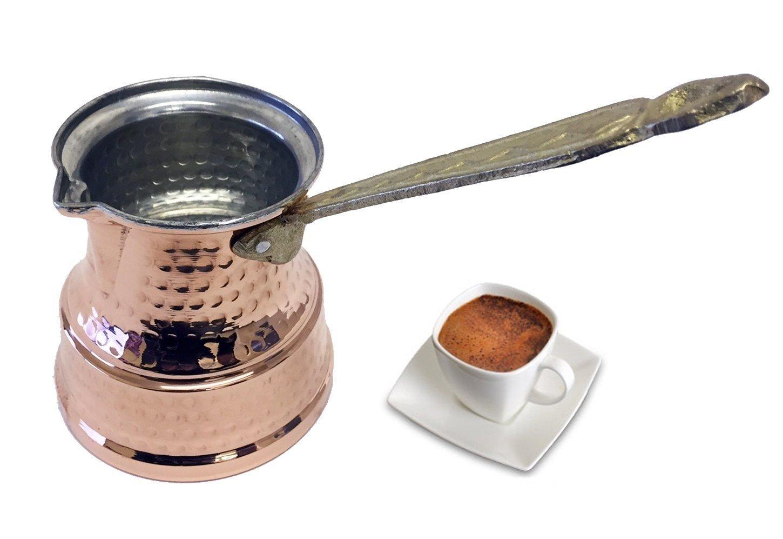 Von UK NEW STYLE türkischen Kupfer Kaffeekanne Maker mit Metall Griff–3Größe–Mittel–Große und X Große Größe, Kupfer, Medimum