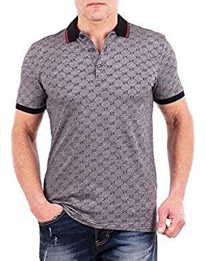 Polo Shirt, Mens Gray Short Sleeve Polo T- Shirt GG Print All Sizes