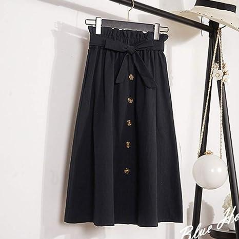 DAHDXD Faldas largas Moda para Mujer Verano Otoño Falda de Cintura ...