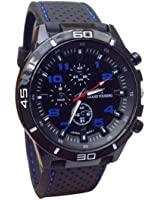 Cool Men's Racer Military Pilot Aviator Army Silicone Sports Watch (Blue)