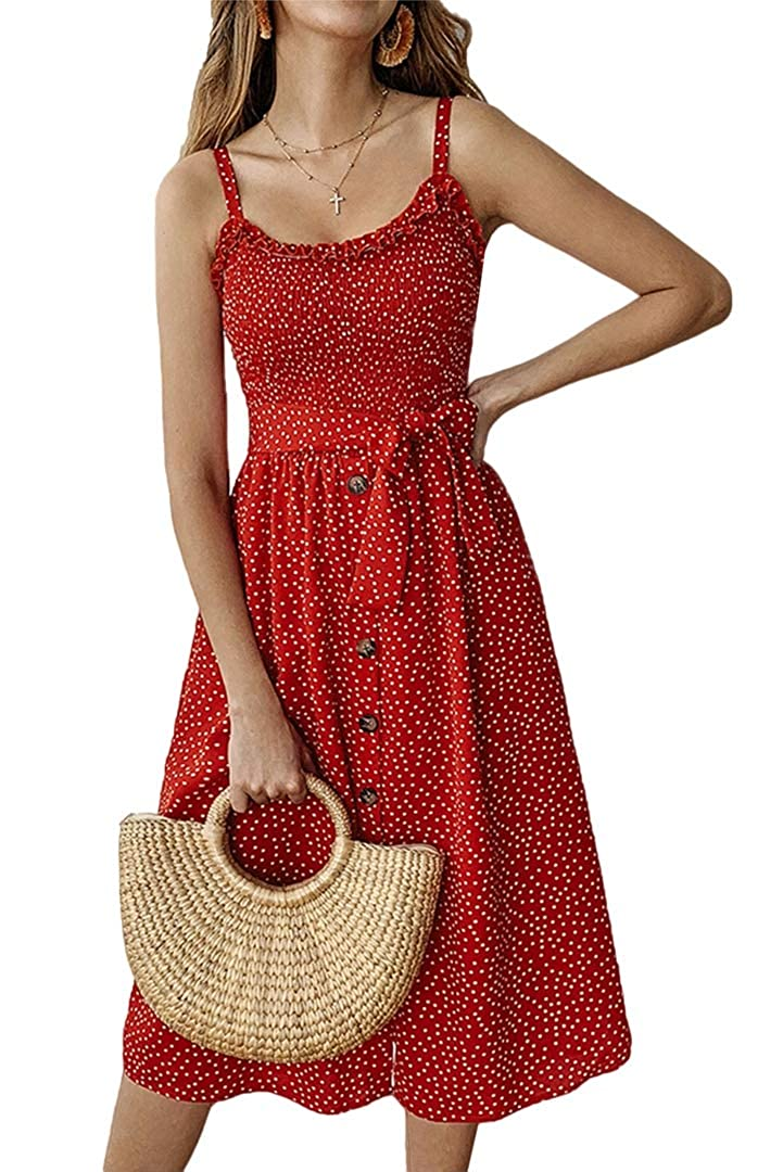 color3 Yoyoma Womens Sun Dresses Summer Sunfloral Print Spaghetti Strap Button Beach Casual Midi Dress