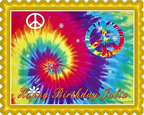 Tie Dye Peace - Edible Cake Topper - 7.5