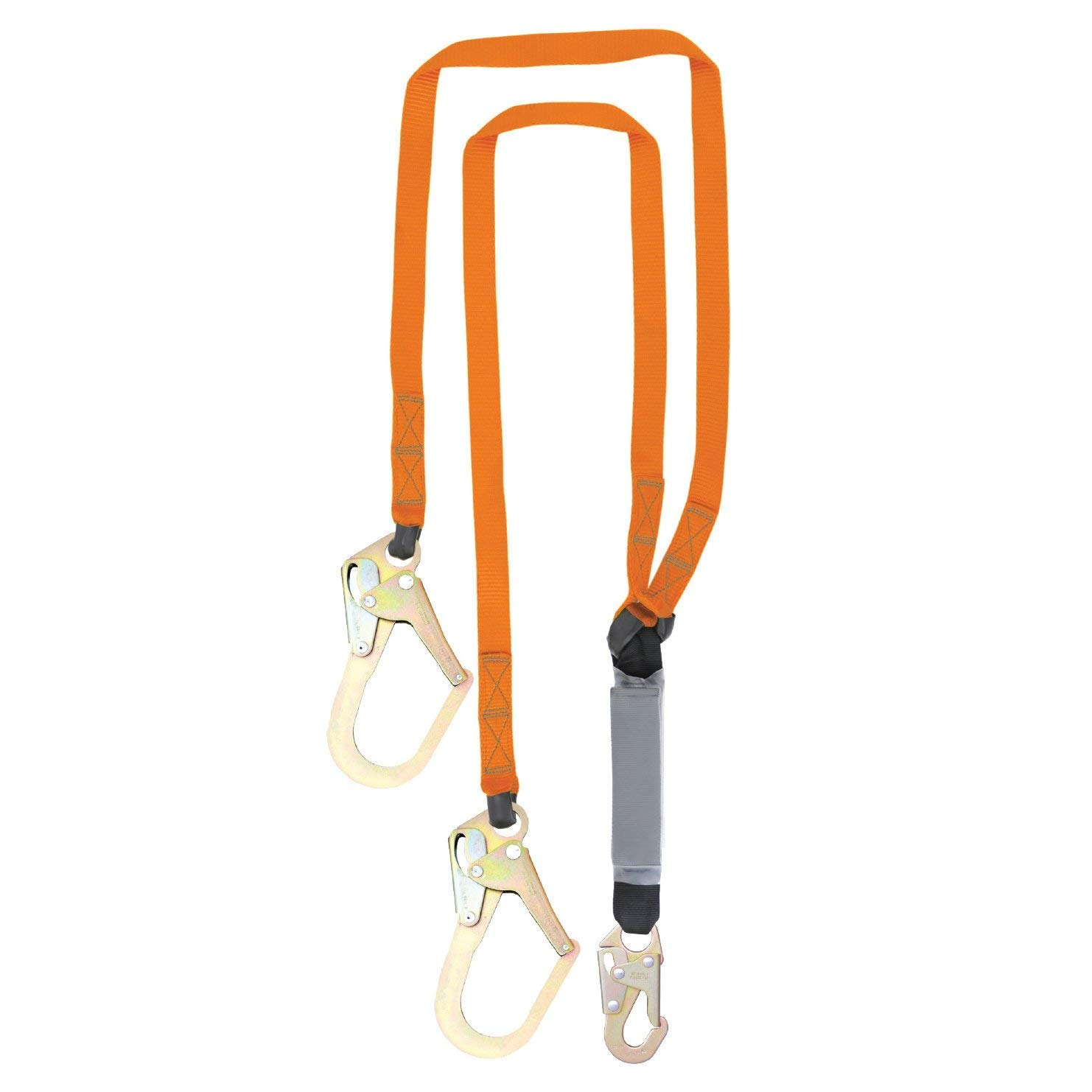 Malta Dynamics Fall Protection Six-foot Double Leg External Shock Absorbing Lanyard with Two Rebar Hooks and One Steel Snap Hook, OSHA/ANSI Compliant