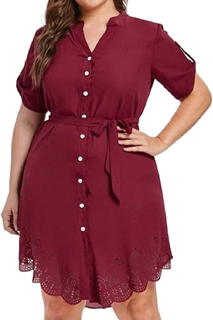 Amazon.com: Women\'s Plus Size Dress Lace Chiffon Button Work ...