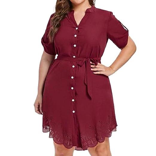 e5621daa96e0 Women's Plus Size Dress Lace Chiffon Button Work Office Short Mini Shirt  Dress (XL,