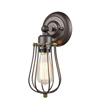 CLAXY Ecopower Vintage Style Industrial Oil Rubbed Bronze Mini Wire Cage Wall  Sconce