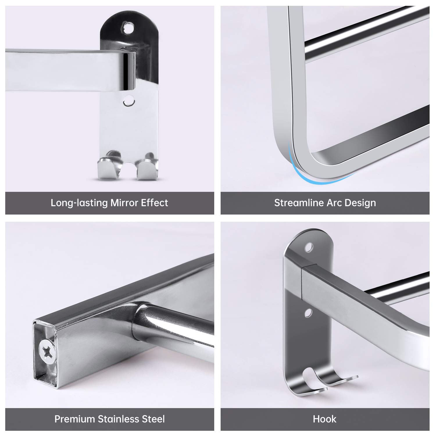21-Inch Towel Bar with Hooks, 22LBS Max Self Adhesive or Wall Mounted Double Anti-Rust Stainless Steel Towel Rack Holder, Bathroom Kitchen Hardware Accessory