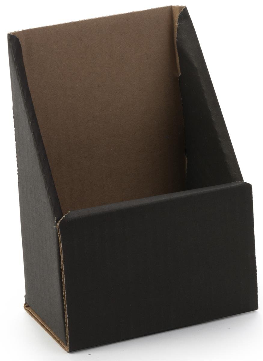 Displays2go, Cardboard Brochure Holder for Counter, Sold in Packs of 100, Corrugated Construction – Black Finish (WCB49BK)