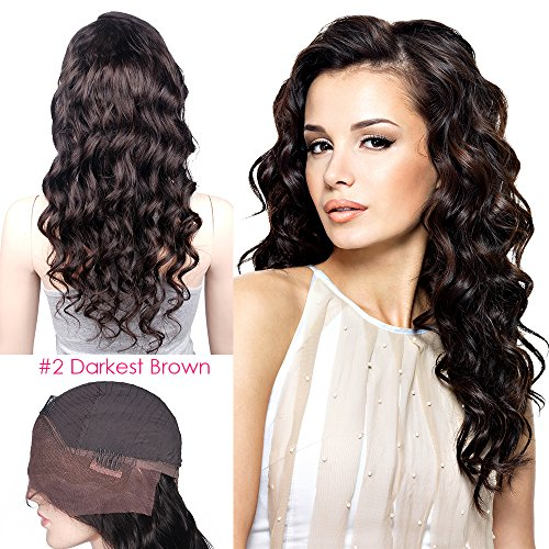 Mike & Mary Indian Remy Hair Lace Front Wigs Body Wave for Black Women with Baby Hair (10inch, #2 Darkest Brown) -