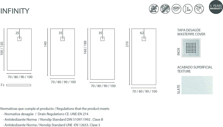 Blanc RAL 9016-70 x 100 mat texture et extra-plat Avec bonde de douche /À carreler en pierre Toutes les mesures n/écessaires Crocket Receveur de Douche//Bac /à douche Italienne Infinity