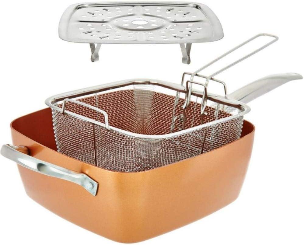 SIMPLE /& Co 12inch Po/êle carr/ée en cuivre antiadh/ésive en cuivre avec poele en cuivre Four /à Induction Coffre-Fort avec Couvercle