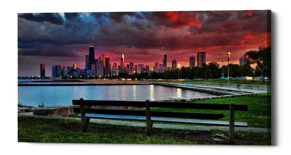 Epic Graffiti North Avenue Beach At Sunset Giclee Canvas Wall Art, 30'' x 60'', Blue