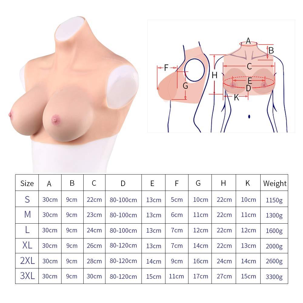 WRQ Silicone Breast Forms High Neck Vest Open Back Fake Big Fake Boobs Crossdresser Transgenders XL,2000g
