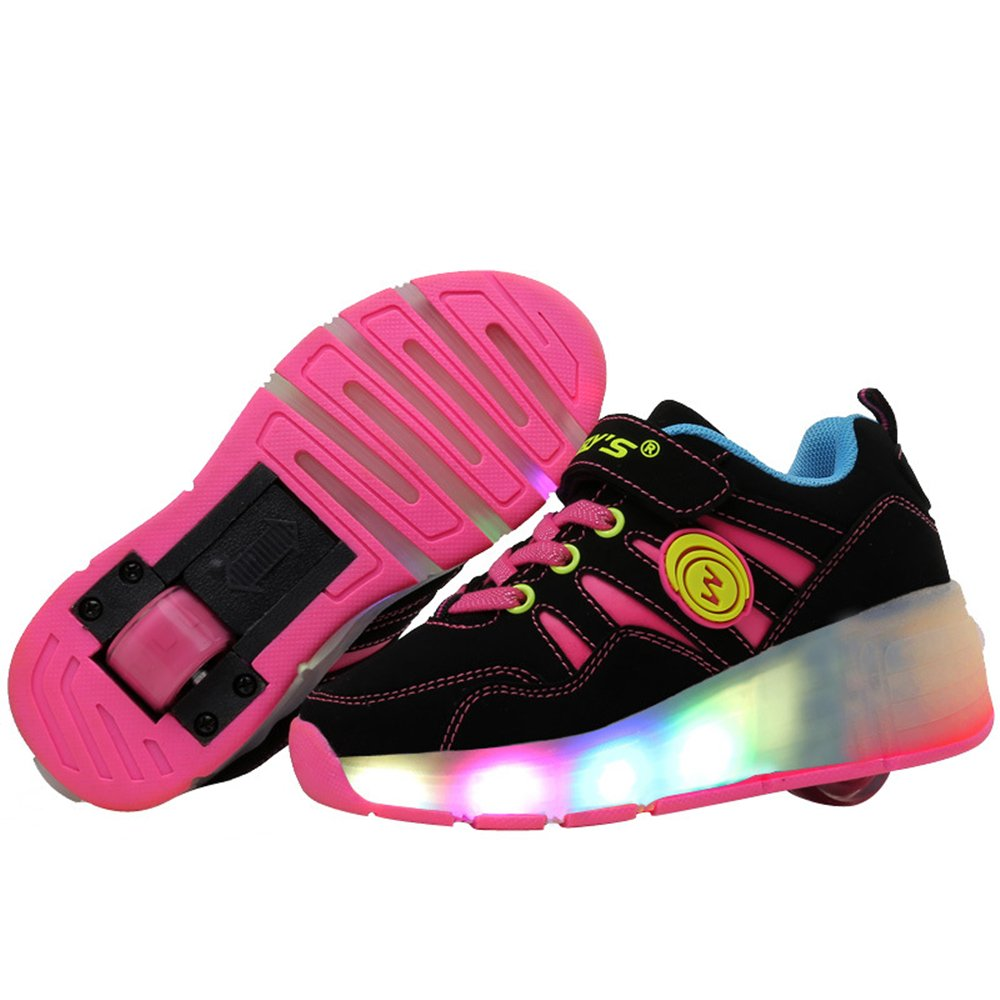Jedi fight back Children Christmas Children Single Wheel Glowing Shoes LED Shoes Roller Skate Shoes ?Pink 12 M US Little Kid?