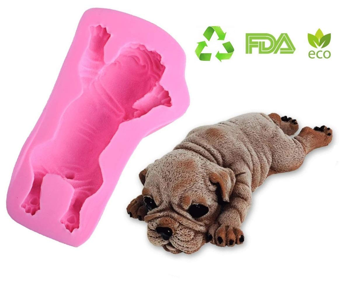 3D Shar Pei Silicone Fondant Mold,Pug Dog Chocolate Mousse Cake  Mold,Polymer Clay Mold,Crafting Resin Mold,Soap Mold,Candle Mold