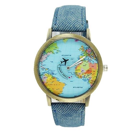 souarts Mujer Azul Mapa Del Mundo Reloj de pulsera Quartz Reloj analógico reloj maduro pulsera con batería: Amazon.es: Relojes
