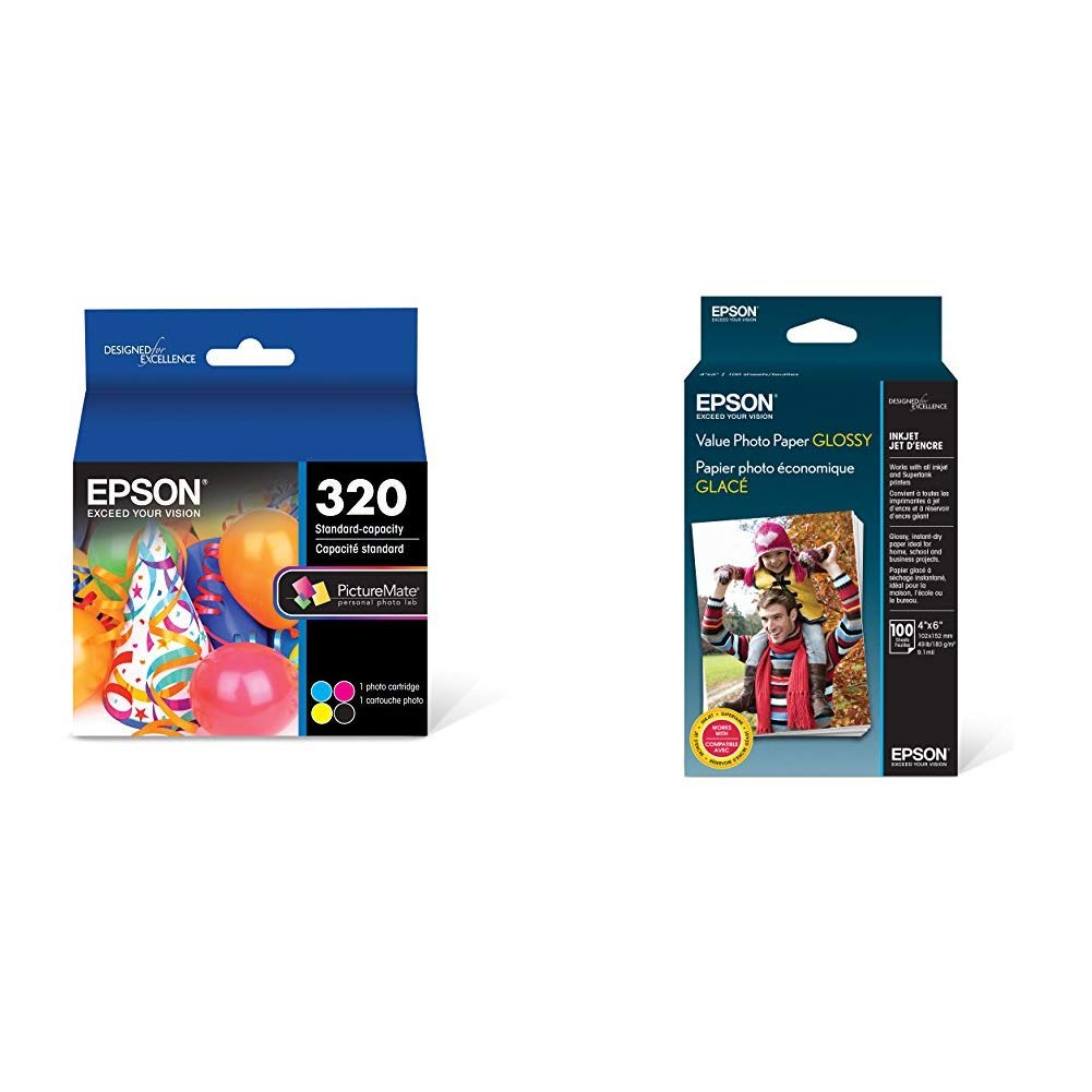 Epson T320 PictureMate Color Cartridge Ink &  Value Photo Paper Glossy, 4''x6'', 100 Sheets (S400034)