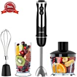 Hand Blender, ASHATA 500 watt 4 in 1 Immersion Hand Blender Set with 500ml Food Processor, 600ml Beaker & Whisk Attachments