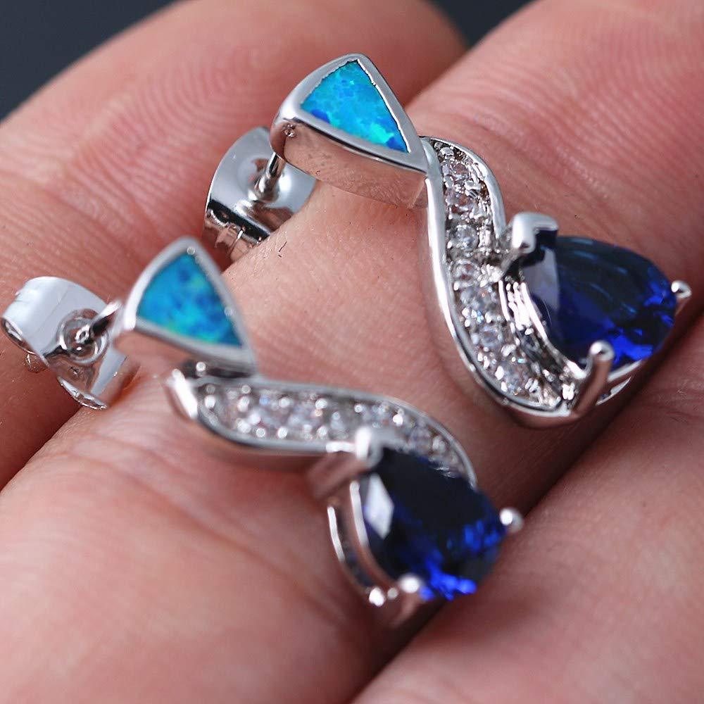 ACVIP Womens Zirconia Inlayed Manmade Opal Earring Stud
